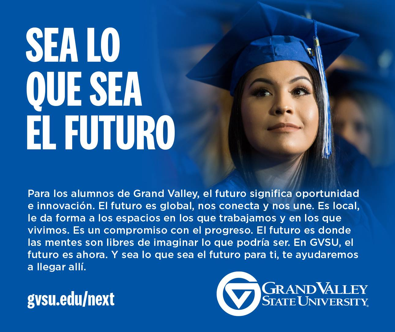Advertisement example featuring student in cap and gown